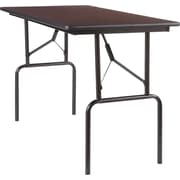 "Staples Rectangle Melamine Wood Folding Table, Walnut Finish, 29.5""H x 24""W x 48""L (27095)"