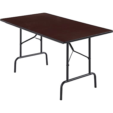 Staples® Rectangle Melamine Wood Folding Table, Walnut, 29.5