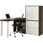 i3 by Bestar L-Shaped Desk Tuxedo/Sandstone