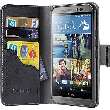 i-Blason HTC One M9 Case , Leather Book Wallet Case, Black