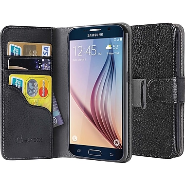 i-Blason Samsung Galaxy S6 Case, Leather Book Wallet Case, Black