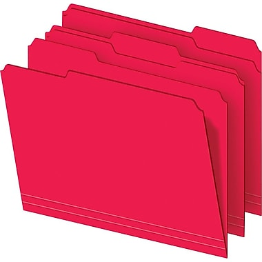 Staples® Colored Top-Tab File Folders, 3 Tab, Red, Letter Size, 100/Pack