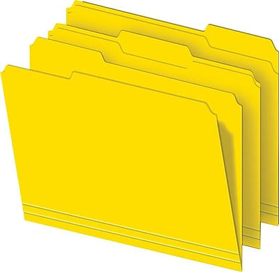 Staples® Colored Top-Tab File Folders, 3 Tab, Yellow, Letter Size, 100/Pack