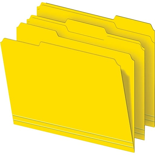 staples colored top tab file folders 3 tab yellow letter size