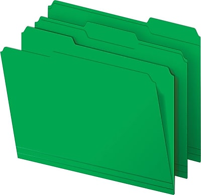 Staples® Colored Top-Tab File Folders, 3 Tab, Green, Letter Size, 100/Pack
