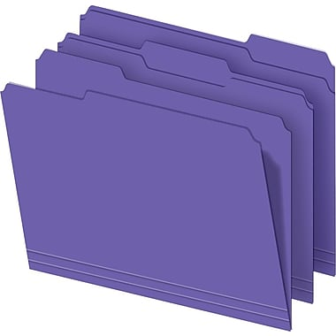 Staples® Colored Top-Tab File Folders, 3 Tab, Purple, Letter Size, 100/Pack