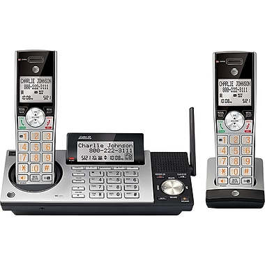 AT&T CL83215 2 Handset DECT 6.0 Expandable Cordless Phone with Answering System and Dual Caller ID/Call Waiting, Silver/Black