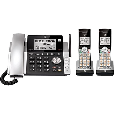 AT&T CL84215 2 Handsets DECT 6.0 Expandable Corded/Cordless Phone with Caller ID and Answering System, Silver/Black