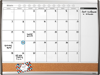 Staples® Magnetic Combination Calendar Board, Dry-Erase & Cork, 1-Month Design, Black/Silver Frame, 17