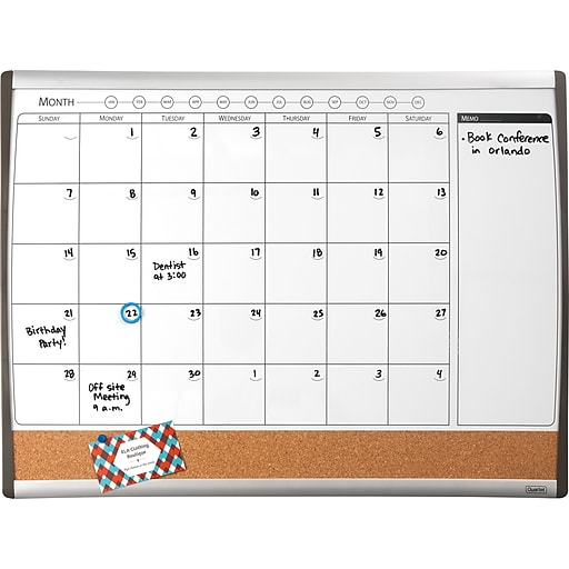 Staples Magnetic Combination Calendar Board Dry Erase Cork 1