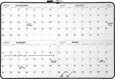 Staples® 4-Month Dry-Erase Planner Board, Black Frame, 23