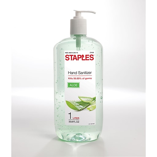 Staples® Instant Hand Sanitizer with Aloe, 1 Liter (27459)