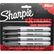 Sharpie® EXtreme Fade Resistant Fine Point Permanent Markers, Black, 4/Pack