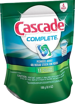 Cascade® Complete™ All-in-1 Action Pacs Dishwasher Detergent, Fresh Scent, 11/Pack