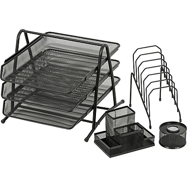 Merangue Metal Mesh Desk Set Combo, Black, 4-Piece Set