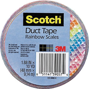 Scotch® Duct Tape, 48mm x 9.14m, Rainbow Scales