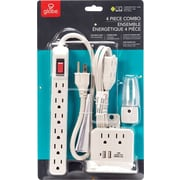 Globe 4-Piece Electrical Set, 6 Outlet Power Bar/ 1.5M Power Cord/ 2 Outlet & 2 USB Tap/ LED Nightlight, White