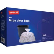 Staples Low Density Plastic Liners, Clear, 22W x 24L, 100/Box