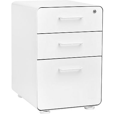 Poppin, Stow File Cabinet, 3-Drawer, White (100425)