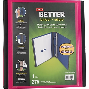 Staples® – Reliure Better Binder, 1 po, rose