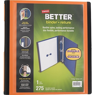 Staples® – Reliure Better Binder, 1 po, orange