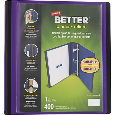 Staples® - Reliure Better Binder, 1 1/2 po, violet