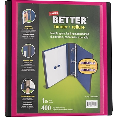 Staples® – Reliure Better Binder, 1 1/2 po, rose