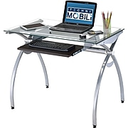 Techni Mobili Glass Top Computer Desk With Pull-Out Keyboard Panel, Clear