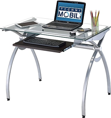 Techni Mobili Glass Top Computer Desk With Pull Out Keyboard Panel, Clear