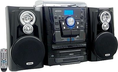 Jensen Bluetooth 3 Speed Stereo Turntable 3 CD Changer and Dual Cassette with Radio