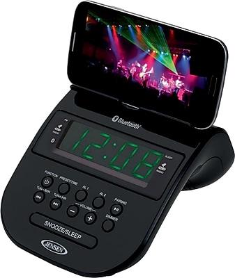 Jensen Bluetooth Clock Radio w/ 1Amp Charging, Black