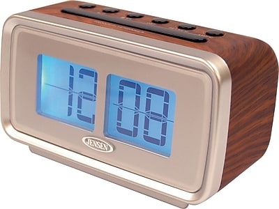 Jensen AM/FM Dual Alarm Digital Retro Flip Clock Radio