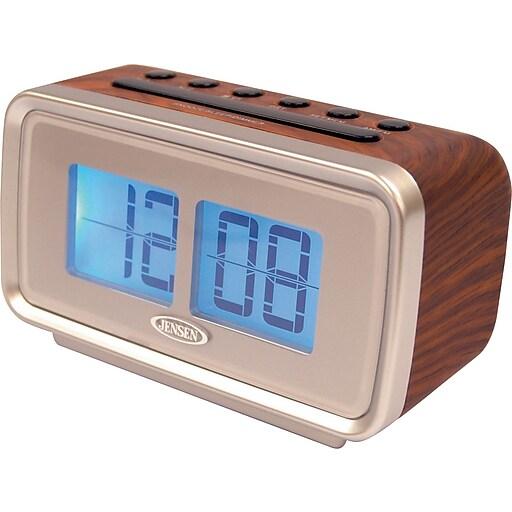 Jensen AM/FM Dual Alarm Digital Retro Flip Clock Radio