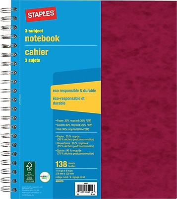 Staples® 3 Subject Notebook, 9