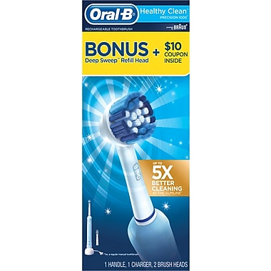 Oral B Healthy Clean Precision 1000 Power Brush with BONUS Deep Sweep Refill Head (contains 1 handle, 1 charger, 2 brush heads)