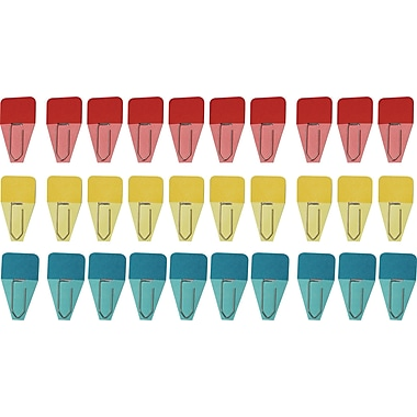 Clip-Rite® Solid Clip-Tab, Red/Blue/Yellow, 8/Bundle