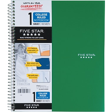 Five Star® 1-Subject Premium Notebook, 11 x 8-1/2