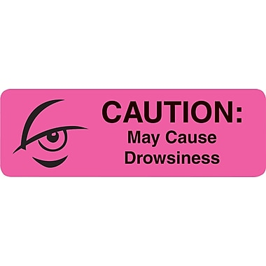Medical Medication Instruction Labels, May Cause Drowsiness, Pink, 0.5 x 1.5 inch, 500 Labels