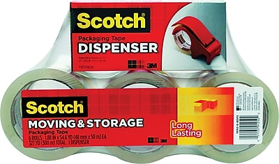 Scotch® Moving and Storage Packing Tape Dispenser with 6 Rolls, Clear, 1.88