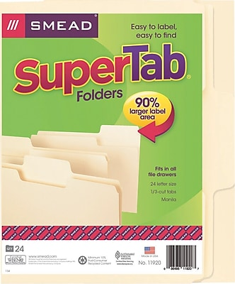 Smead® SuperTab® File Folder, Oversized 1/3-Cut Tab, Letter Size, Manila, 24 Per Box (11920)