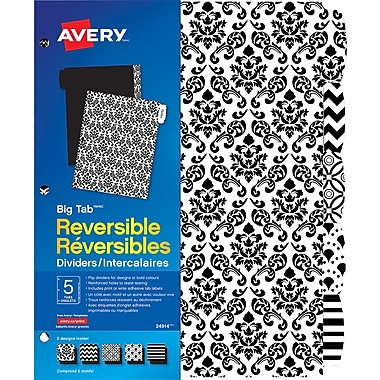 Avery® Big Tab™ Reversible Paper Dividers, Black & White, 5-Tab Set