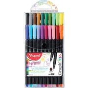 Maped Graph'Peps Felt-Tip Pens, 0.4mm Extra Fine Tip, Assorted, 20/Pack