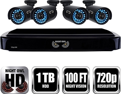Night Owl HD 720p 4 Channel AHD Security System with 4 x 720p Cameras with 100ft of Night Vision and 1 TB HDD