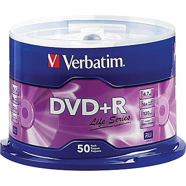 Verbatim, 50/Pack 4.7GB DVD+R Life Series
