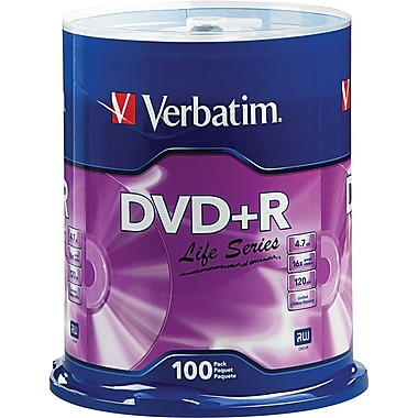 Verbatim® DVD+R Discs, Life Series, 16x, 4.7GB, 100-Pack Spindle