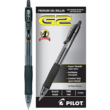 Pilot G2 Premium Retractable Gel Roller Pens, Fine Point, Black, 12/Pack (31020)