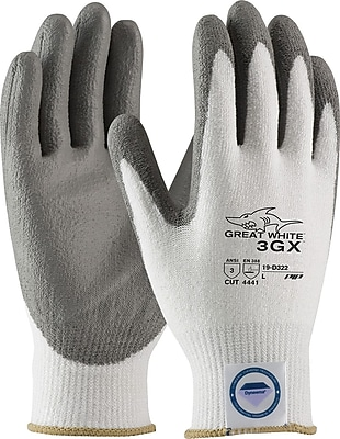 PIP® Great White® Dyneema® Diamond/Lycra 3GX™ Cut-Resistant Coated Gloves; Smooth Grip, Large
