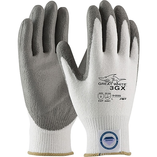 PIP® Great White® Dyneema® Diamond/Lycra 3GX™ Cut-Resistant Coated Gloves, Smooth Grip, Medium