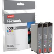 Staples Remanufactured C/M/Y Color Ink Cartridges, Lexmark 100XL (SIL-R100XCMY), High Yield, Combo 3/Pack