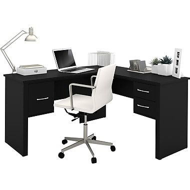 Bestar somerville l shaped desk black staples - Organiser un bureau ...